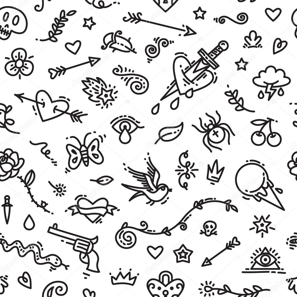 Old School Tattoo Seamless Pattern Stock Vector Voysla 85001678