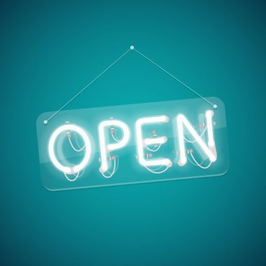 White Glowing Neon Open Sign