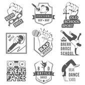Vektorové sada znaků, loga a označení Break Dance