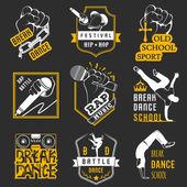 Fényképek Vektor csoportja, jelvények, logók és jel Break tánc