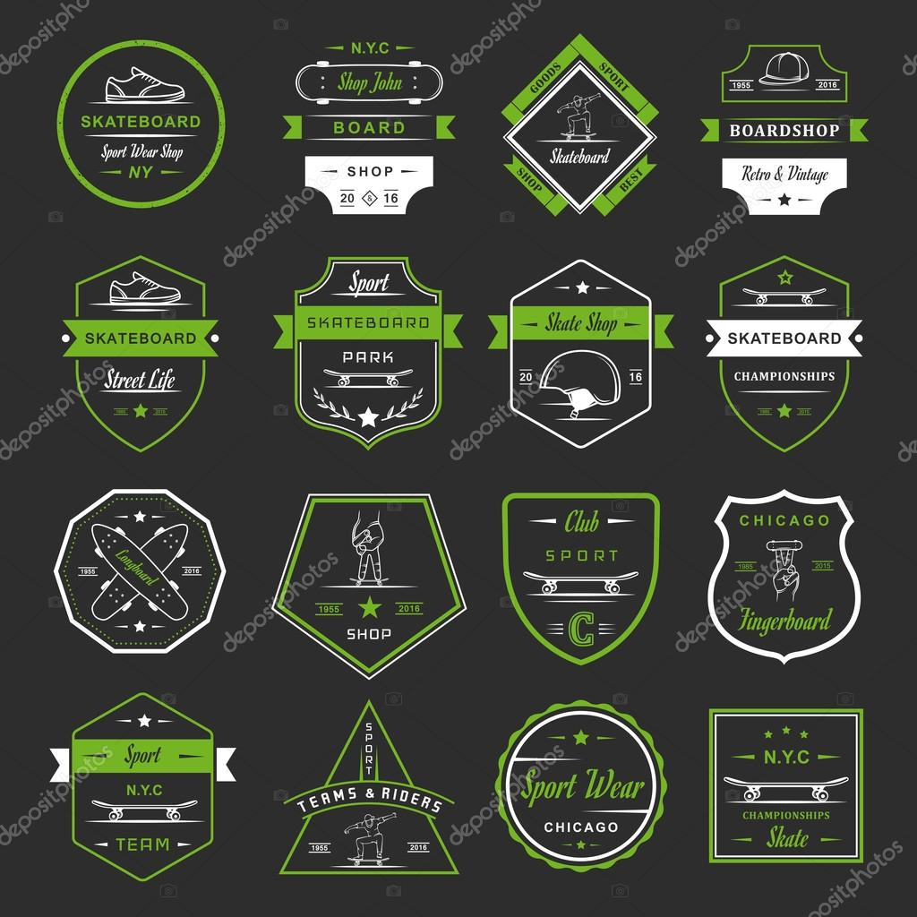 Set of skateboarding logo, badge, emblems, stickers, labels and elements of street style. Collection sign street art, street life and graffiti stock vector
