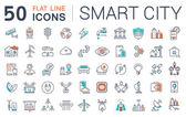 Fotografie Set Vector Flat Line Symbole Smart City