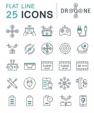 Set Vector Flat Line Icons Drones