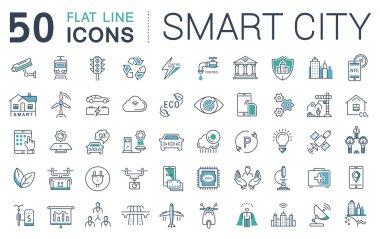 Set Vector Flat Line Icons Smart City