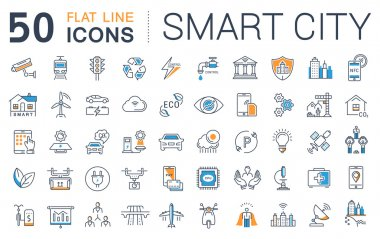 Set Vector Flat Line Icons Smart City