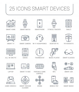 Set Vector Flat Line Icons Smart Device