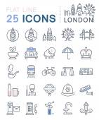 Fotografie Legen Sie Vektor flache Linie Symbole London