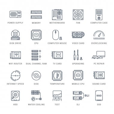 Set Vector Flat Line Icons Upgrading Computer