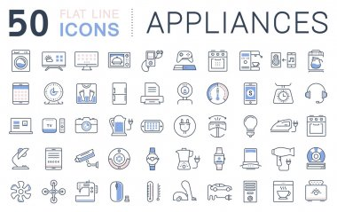 Set Vector Flat Line Icons Appliance