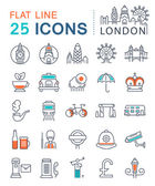 Set Vector Flat Line Icons London und Uk