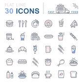 Vektor rovná čára ikony rychlé jídlo a nezdravé jídlo