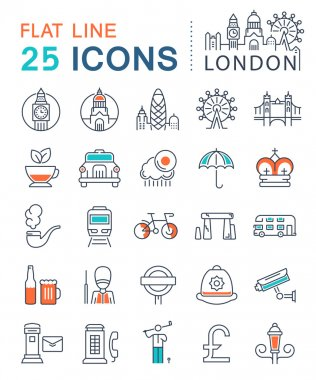 Set Vector Flat Line Icons London and UK