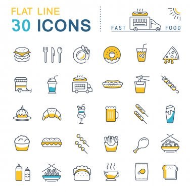 Set Vector Flat Line Icons Fast Food and Junk Food
