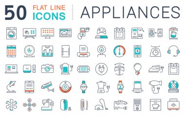 Set vector line icons in flat design appliance, smart devices and gadgets, modern web icons and symbols with elements for mobile concepts and web apps. Collection modern infographic logo and pictogram clip art vector