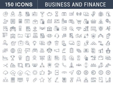 Set Vector Flat Line Icons Business and Finance
