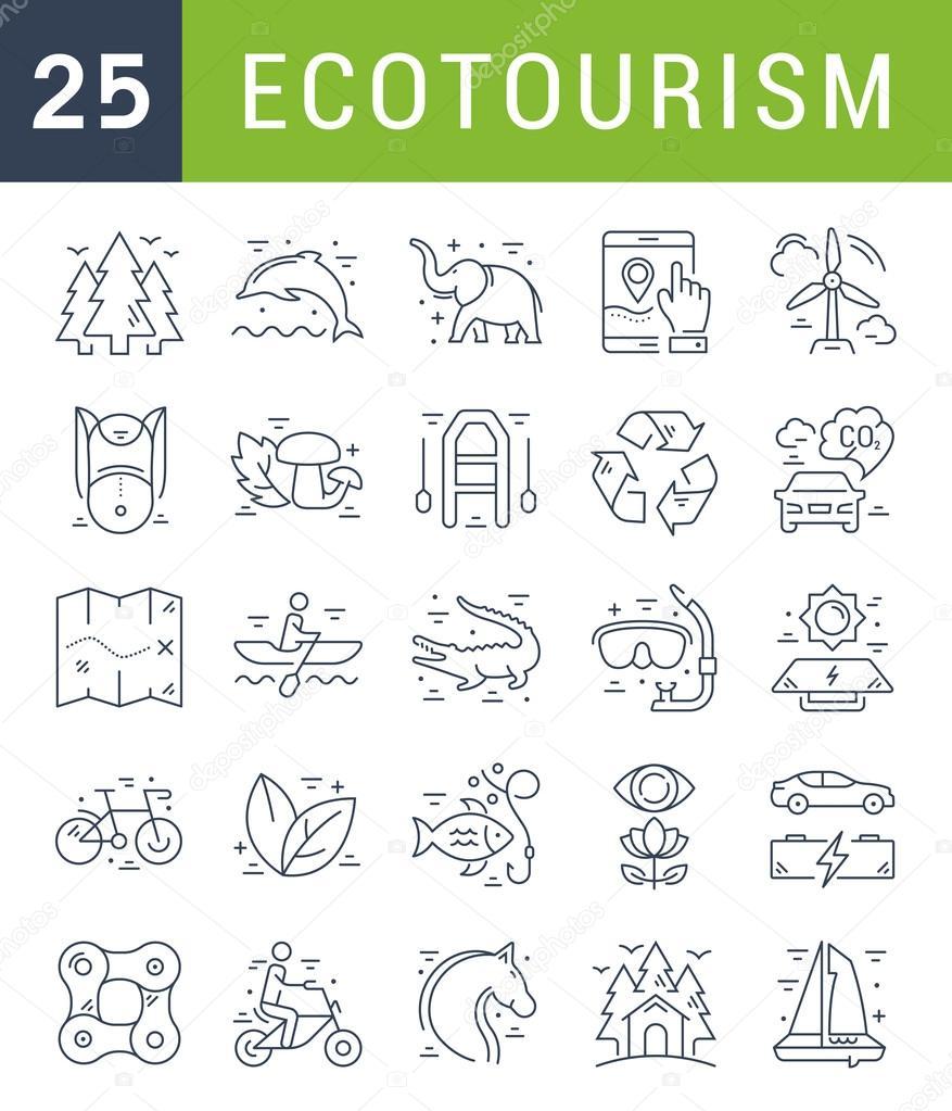 Set Vector Flat Line Icons Ecotourism