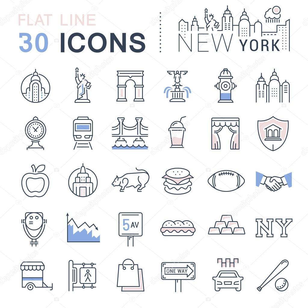 Set Vector Flat Line Icons New York and USA