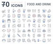 Nastavit vektor rovná čára ikony nápoje a potraviny