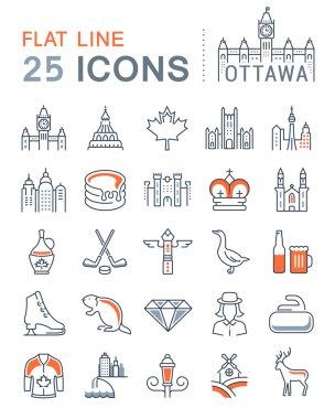 Set Vector Flat Line Icons Ottawa