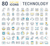 Photo Set Vector Flat Line Icons Technology