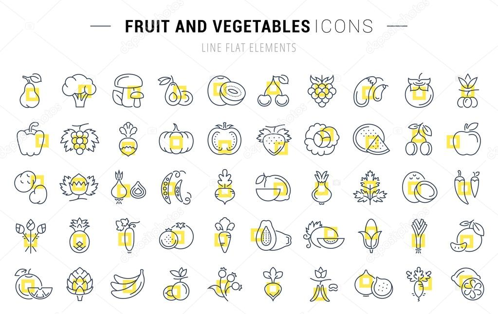 fruits and vegetables set vector flat line icons vegetables and fruit stock 12476