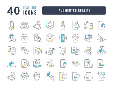 Augmented Reality. Collection of perfectly thin icons for web design, app, and the most modern projects. The kit of signs for category Technology. icon