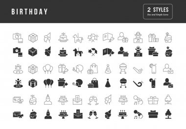 Birthday. Collection of perfectly simple monochrome icons for web design, app, and the most modern projects. Universal pack of classical signs for category Holidays. icon