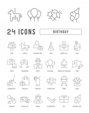 Birthday. Collection of perfectly thin icons for web design, app, and the most modern projects. The kit of signs for category Holidays. icon