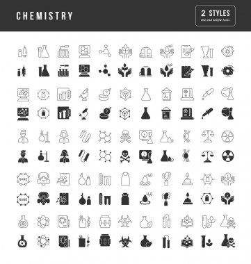 Chemistry. Collection of perfectly simple monochrome icons for web design, app, and the most modern projects. Universal pack of classical signs for category Education. icon