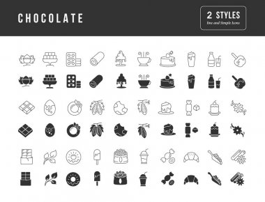 Chocolate. Collection of perfectly simple monochrome icons for web design, app, and the most modern projects. Universal pack of classical signs for category Food and Drink. icon
