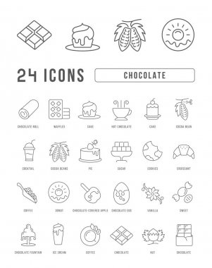 Chocolate. Collection of perfectly thin icons for web design, app, and the most modern projects. The kit of signs for category Food and Drink. icon