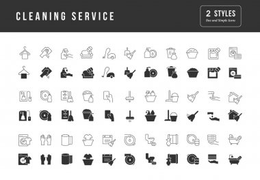 Cleaning Service. Collection of perfectly simple monochrome icons for web design, app, and the most modern projects. Universal pack of classical signs for category Business. icon