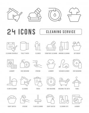 Cleaning Service. Collection of perfectly thin icons for web design, app, and the most modern projects. The kit of signs for category Business. icon