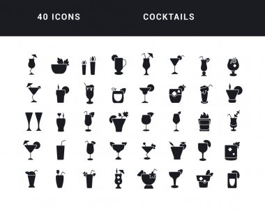 Cocktails. Collection of perfectly simple monochrome icons for web design, app, and the most modern projects. Universal pack of classical signs for category Food and Drink. icon