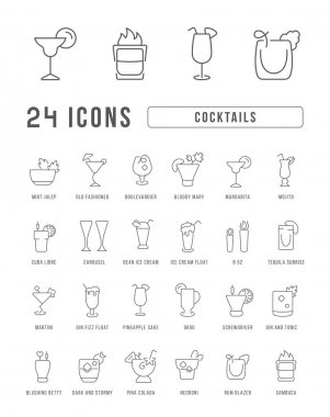 Cocktails. Collection of perfectly thin icons for web design, app, and the most modern projects. The kit of signs for category Food and Drink. icon