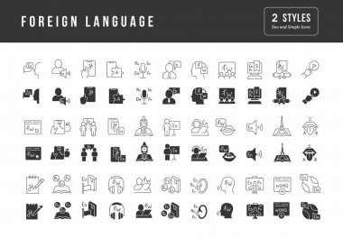 Foreign Language. Collection of perfectly simple monochrome icons for web design, app, and the most modern projects. Universal pack of classical signs for category Education. icon
