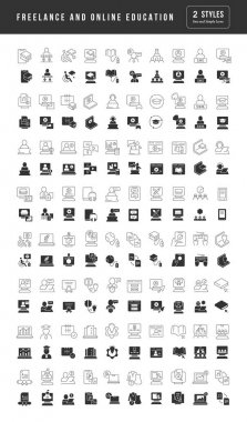 Freelance and Online Education. Collection of perfectly simple monochrome icons for web design, app, and the most modern projects. Universal pack of classical signs for category Education. icon