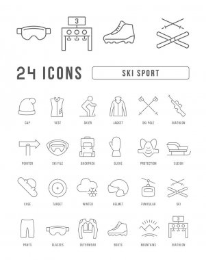Ski Sport. Collection of perfectly thin icons for web design, app, and the most modern projects. The kit of signs for category Sport. icon