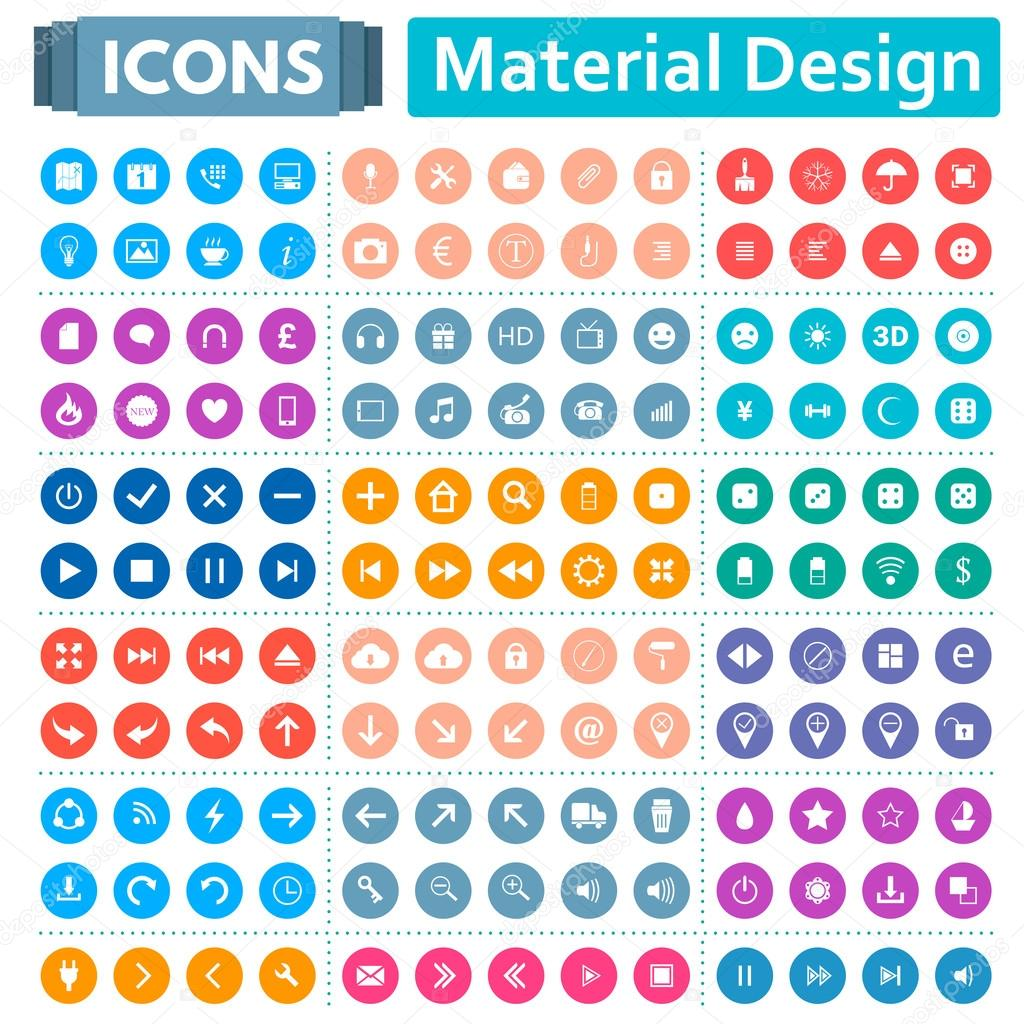 Universal Set of Icons in the Style of Material Design