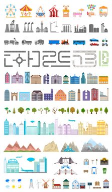 Elements of the modern big city or village - stock vector