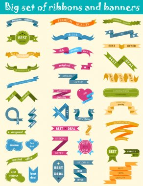 Vector set of labels, stickers and ribbons on a yellow backgroun