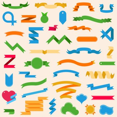 Vector set with ribbons, labels, badges in style flat - stock ve