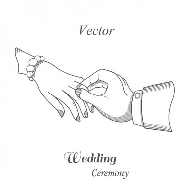 Vector illustration of a wedding ceremony. The groom puts the ring on the bride's hand. Painted scene design situations for your projects. stock vector