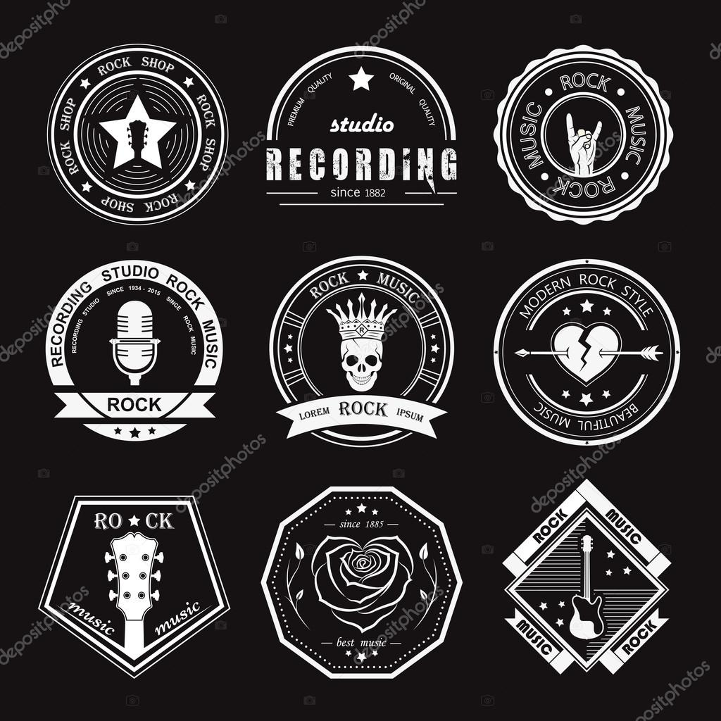 set of vintage logos of rock music and rock and roll  u2014 stock vector  u00a9 andrei45454  65837397