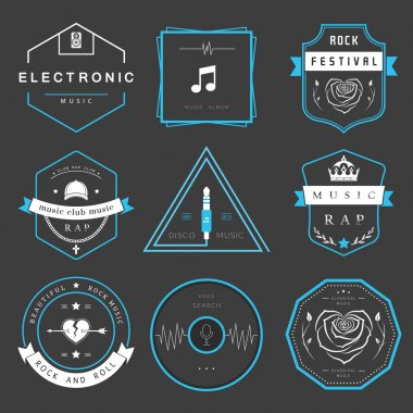 Vector badges rock music, rap, classical and electronic music. Vector logos festivals and concerts, elements of web design and voice search, prints for T-shirts. stock vector
