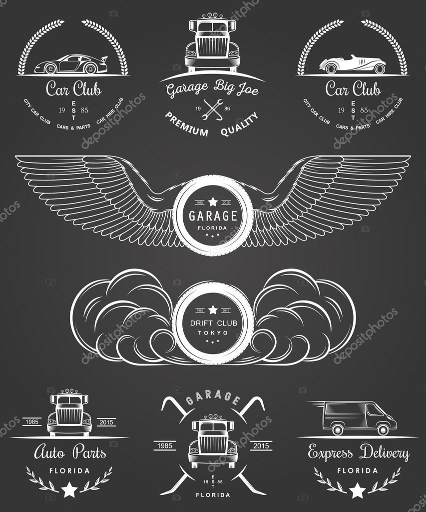 Design car club logo - Set Of Vintage Car Club Drift Club Auto Parts And Garage Labels Badges And Design Elements Badges Trucks Vintage Cars And Sports Cars