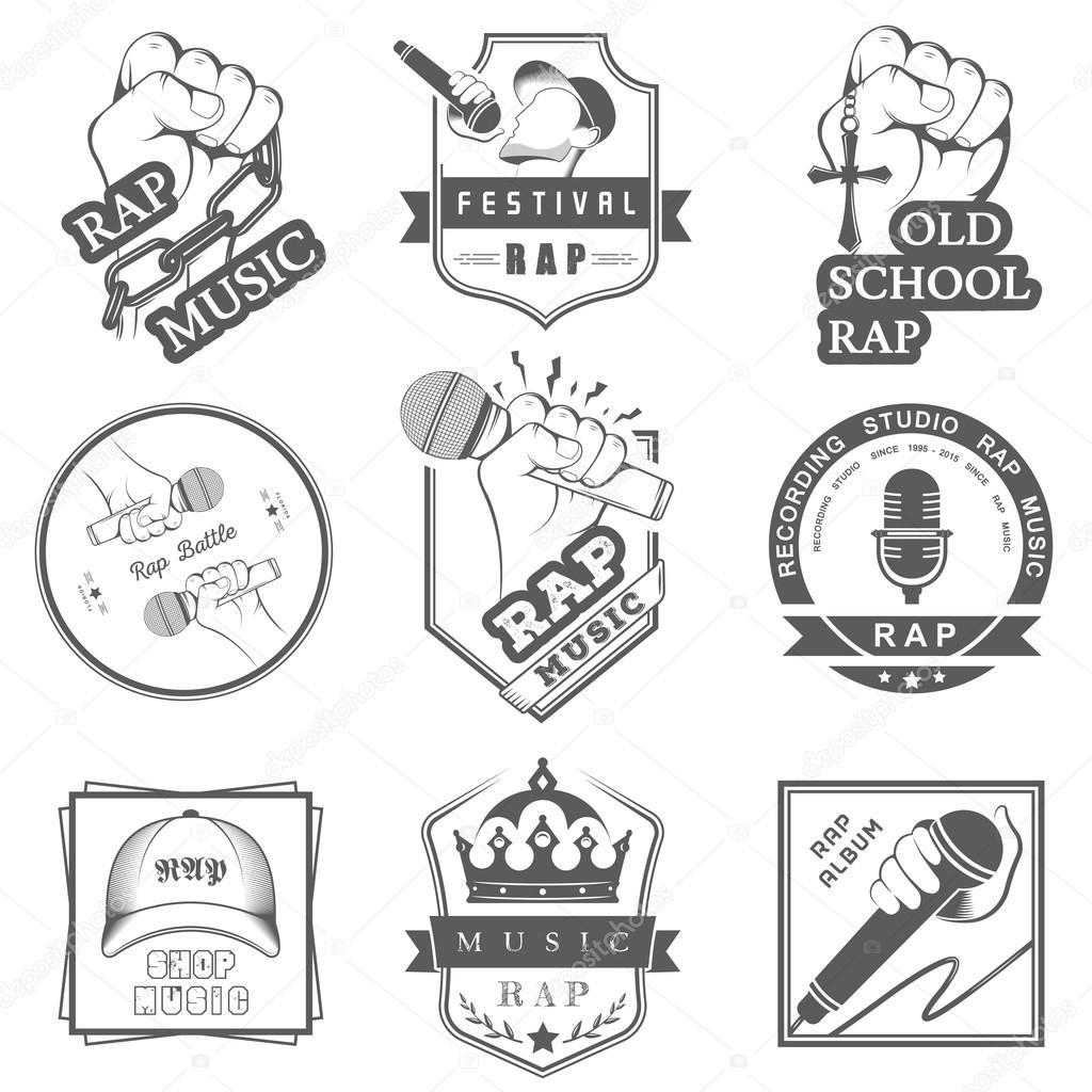 Set logos and Badges Rap Music