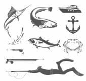 Vektor készlet ikonok és berendezések jeleit Spearfishing