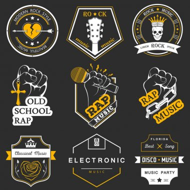 Set of vector logos and badges music