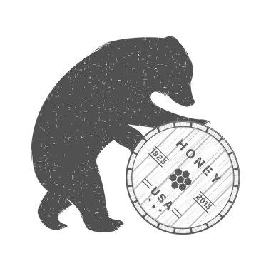 Vintage Illustration of Bear with Barrel of Honey